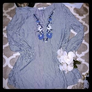 Old Navy Floral Striped Tunic Shirt